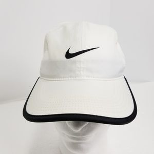 Nike Dri Fit Hat Cap White Black Solid Strapback